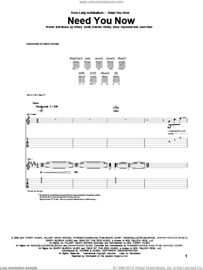 Need You Now sheet music for guitar (tablature) by Josh Kear