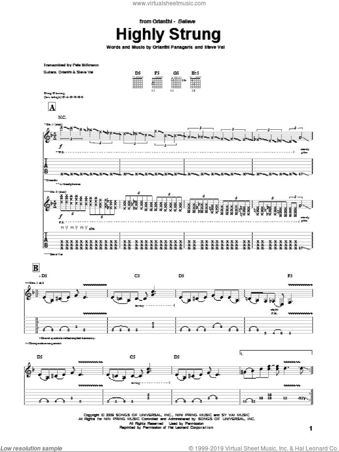 Highly Strung sheet music for guitar (tablature) by Orianthi, Orianthi Panagaris and Steve Vai, intermediate skill level
