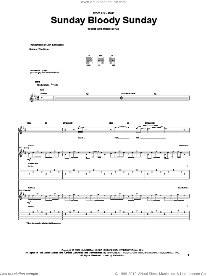 Sunday Bloody Sunday sheet music for guitar (tablature) by U2, Bono and The Edge, intermediate