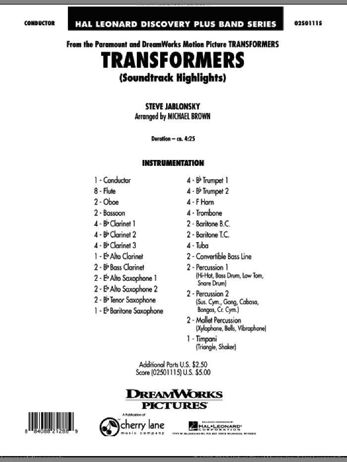 Transformers Soundtrack Highlights (COMPLETE) sheet music for concert band by Michael Brown and Steve Jablonsky, intermediate skill level