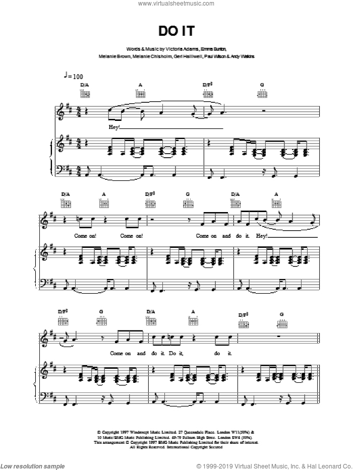 Do It sheet music for voice, piano or guitar by Emma Bunton, The Spice Girls, AADAMS and BROWN, intermediate skill level