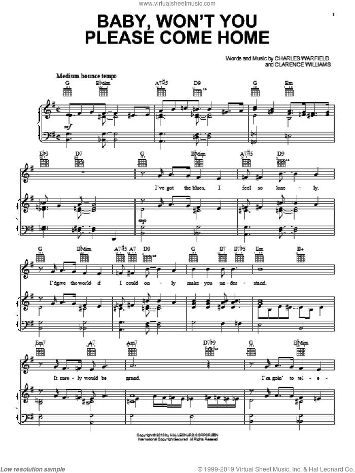 Baby, Won't You Please Come Home sheet music for voice, piano or guitar by Bessie Smith, Charles Warfield and Clarence Williams, intermediate skill level