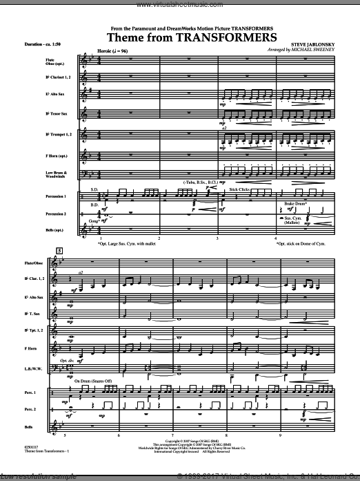 Theme From Transformers (COMPLETE) sheet music for concert band by Steve Jablonsky