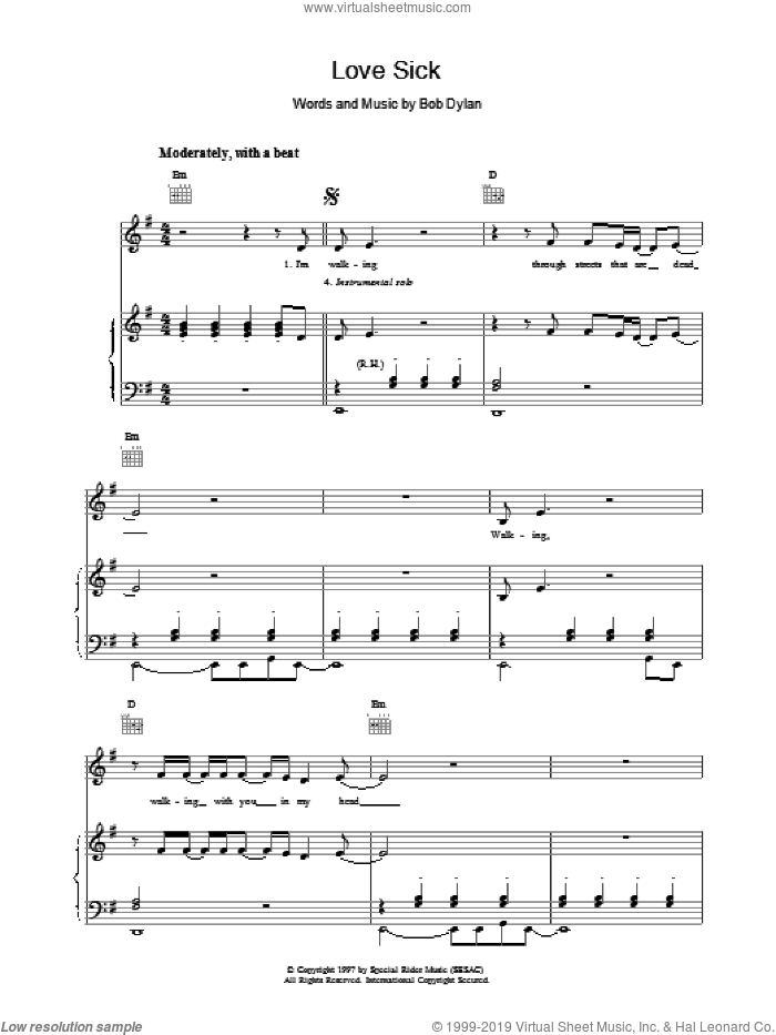 Love Sick sheet music for voice, piano or guitar by Bob Dylan. Score Image Preview.
