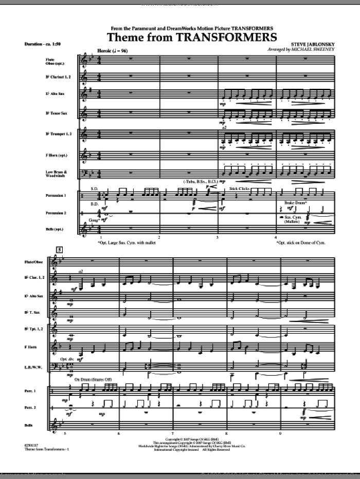Theme From Transformers (COMPLETE) sheet music for concert band by Michael Sweeney and Steve Jablonsky, intermediate. Score Image Preview.