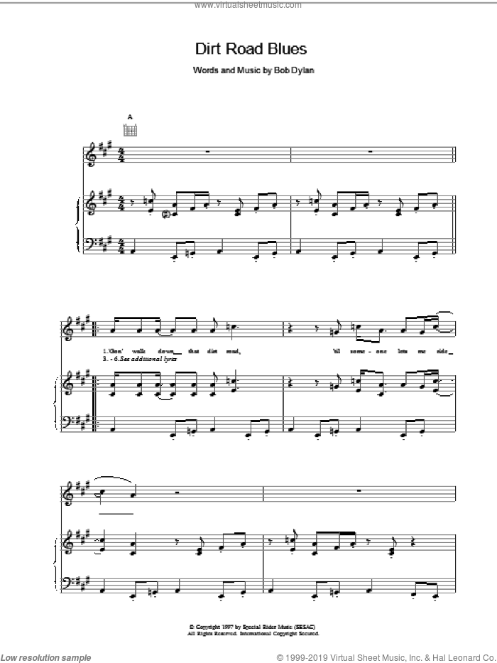 Dirt Road Blues sheet music for voice, piano or guitar by Bob Dylan, intermediate. Score Image Preview.