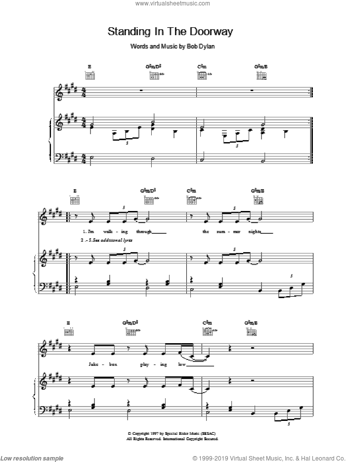 Standing In The Doorway sheet music for voice, piano or guitar by Bob Dylan. Score Image Preview.