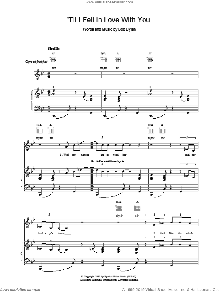 'Til I Fell In Love With You sheet music for voice, piano or guitar by Bob Dylan. Score Image Preview.