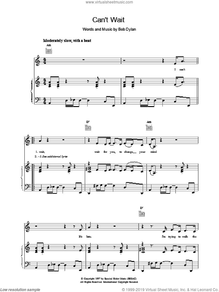Can't Wait sheet music for voice, piano or guitar by Bob Dylan. Score Image Preview.
