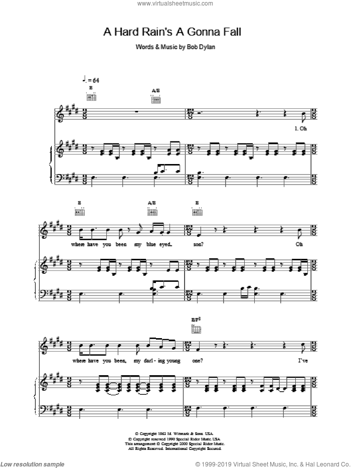 A Hard Rain's Gonna Fall sheet music for voice, piano or guitar by Bob Dylan, intermediate skill level