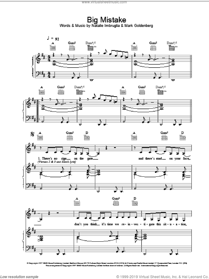 Big Mistake sheet music for voice, piano or guitar by Mark Goldenberg and Natalie Imbruglia. Score Image Preview.