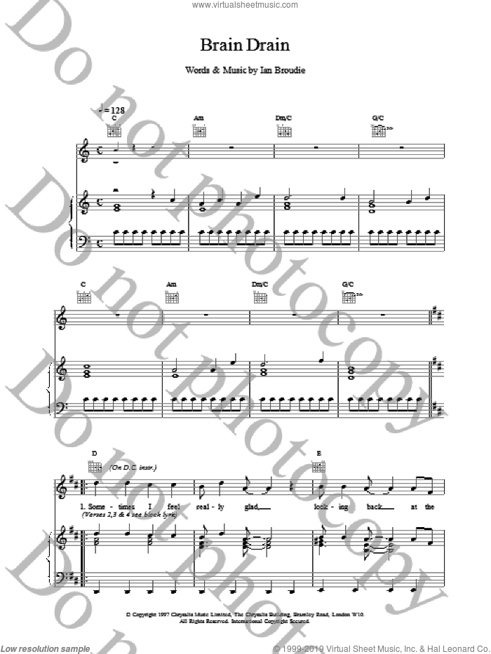 Brain Drain sheet music for voice, piano or guitar by Ian Broudie and The Lightning Seeds. Score Image Preview.