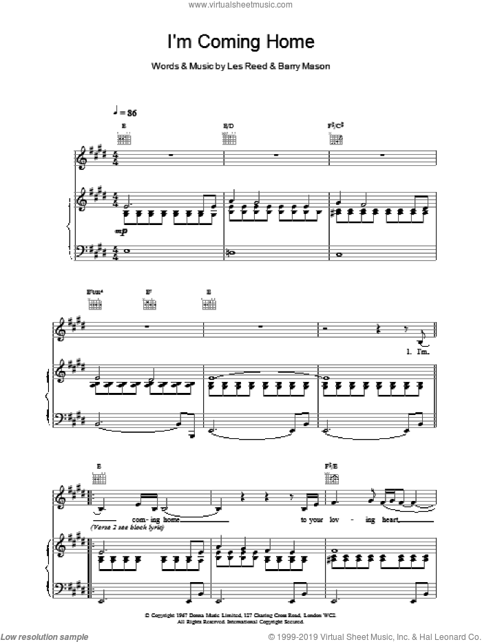 I'm Coming Home sheet music for voice, piano or guitar by Tom Jones, intermediate. Score Image Preview.