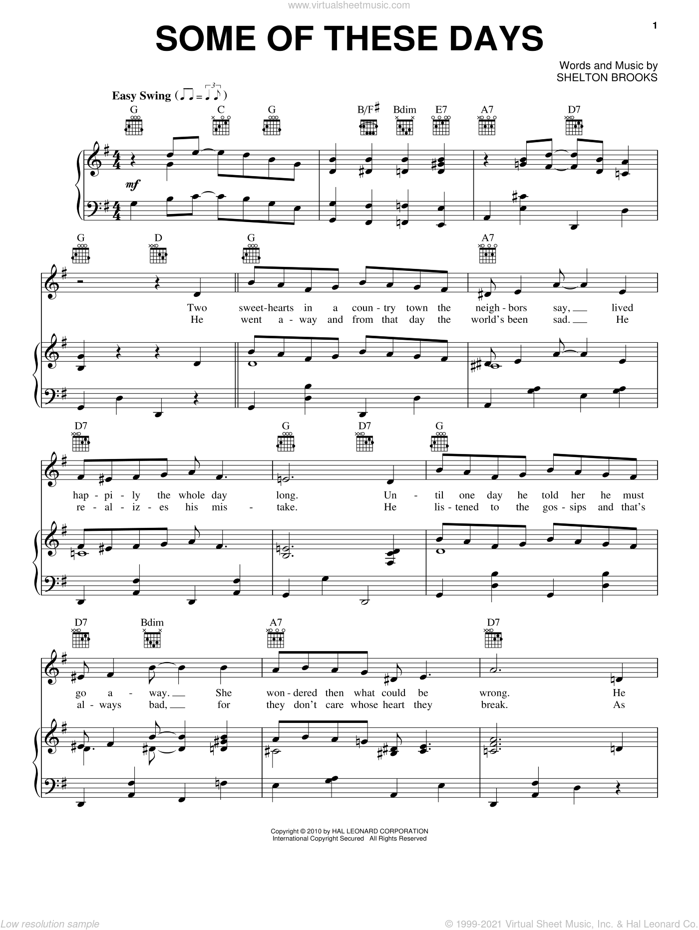 Some Of These Days sheet music for voice, piano or guitar by Sophie Tucker and Shelton Brooks, intermediate
