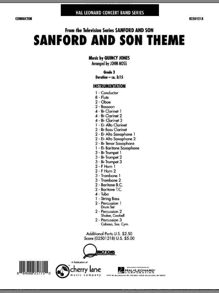 Sanford And Son Theme (COMPLETE) sheet music for concert band by Quincy Jones and John Moss, intermediate. Score Image Preview.