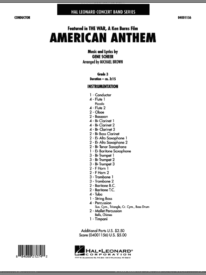 American Anthem (from The War) (COMPLETE) sheet music for concert band by Michael Brown and Gene Scheer, intermediate skill level