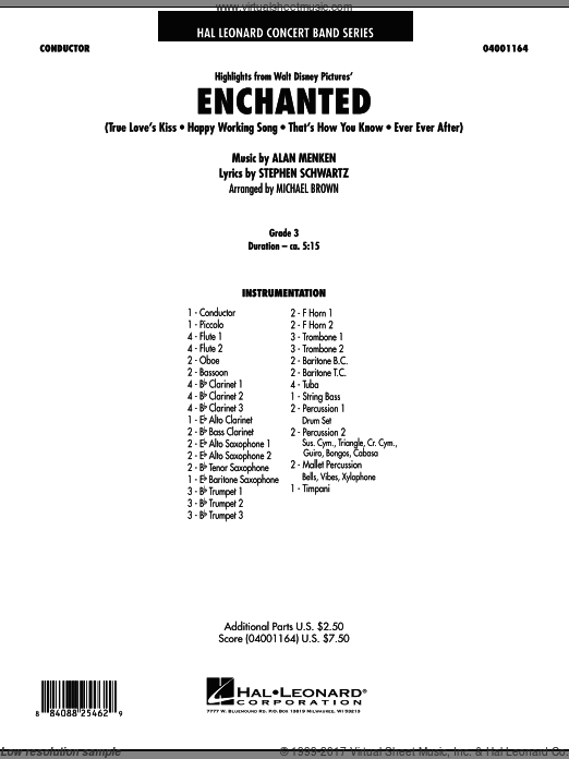 Highlights from Enchanted (COMPLETE) sheet music for concert band by Alan Menken