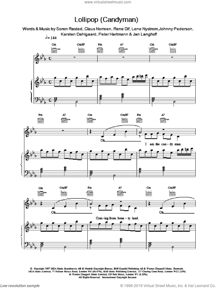 Lollipop (Candyman) sheet music for voice, piano or guitar by Aqua and Soren Rasted, intermediate voice, piano or guitar. Score Image Preview.