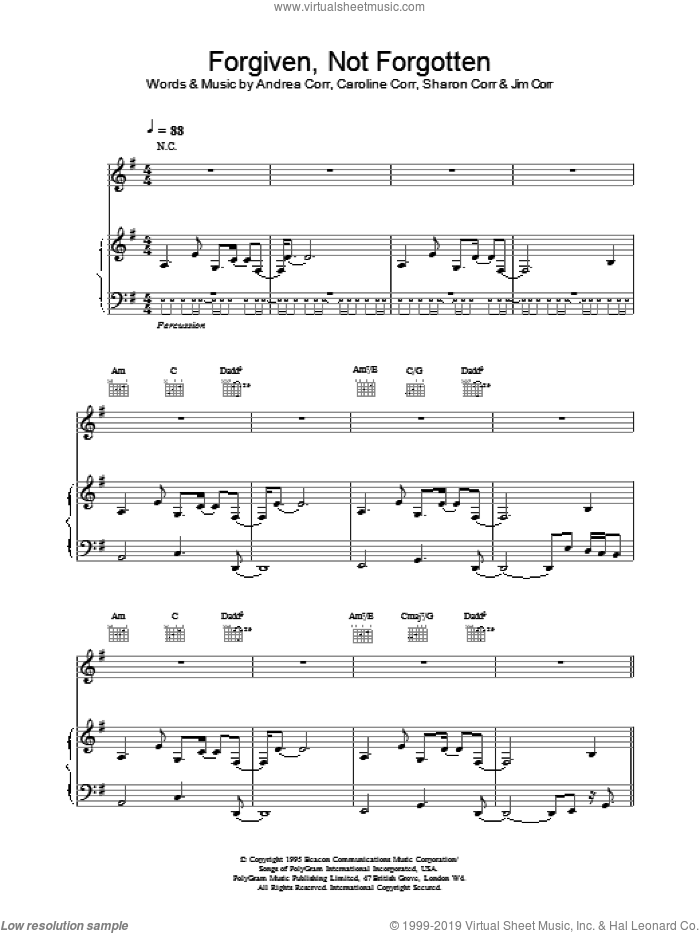 Forgiven, Not Forgotten sheet music for voice, piano or guitar  and The Corrs