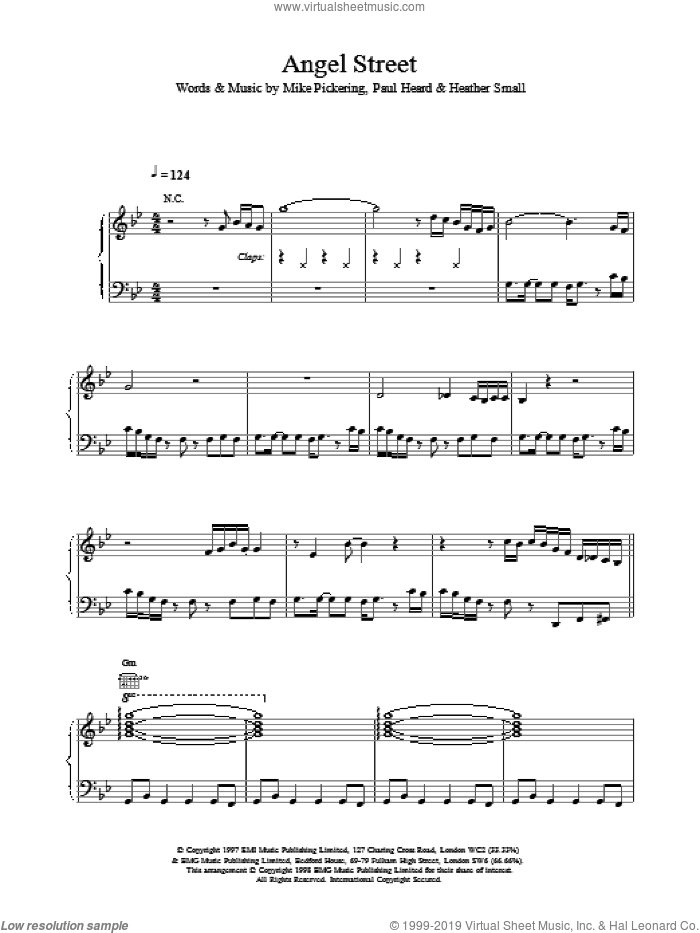 Angel Street sheet music for voice, piano or guitar by Paul Heard and M People. Score Image Preview.