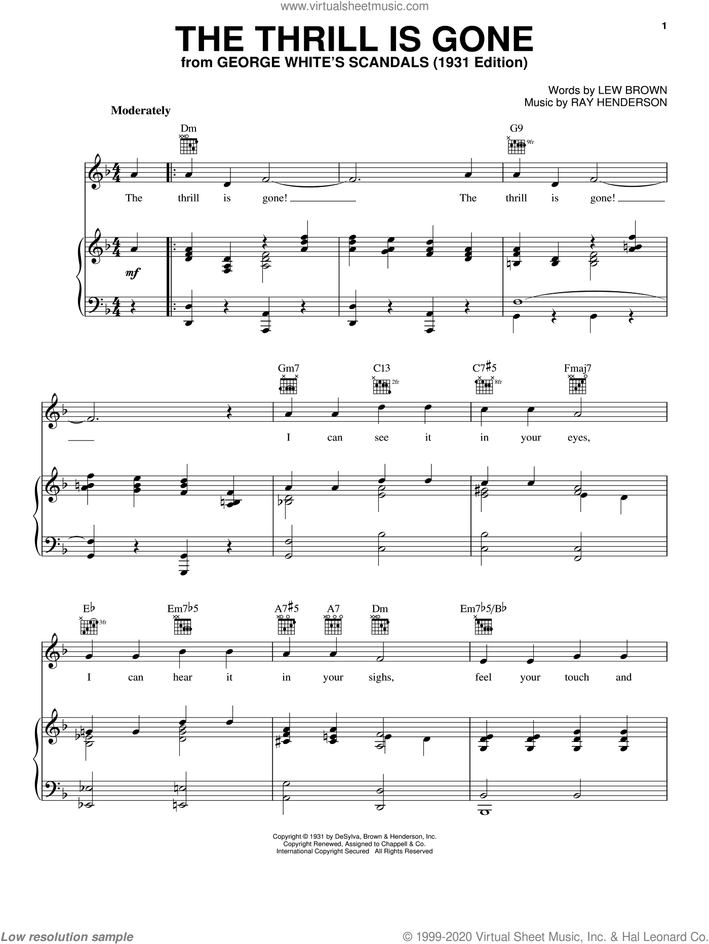 The Thrill Is Gone sheet music for voice, piano or guitar by Ray Henderson and Lew Brown. Score Image Preview.