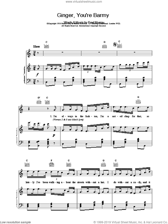 Ginger, You're Barmy sheet music for voice, piano or guitar, intermediate. Score Image Preview.