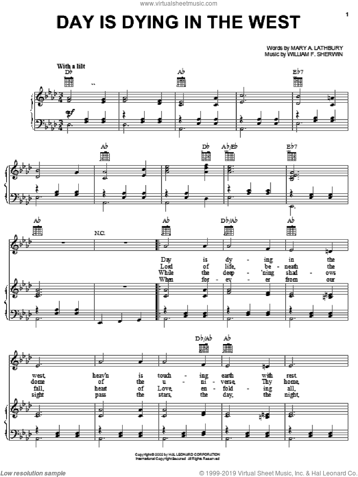 Day Is Dying In The West sheet music for voice, piano or guitar by Mary Artemesia Lathbury and William Sherwin, intermediate skill level
