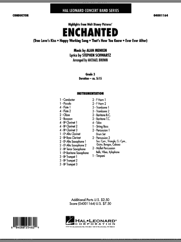 Highlights from Enchanted (COMPLETE) sheet music for concert band by Alan Menken, Michael Brown and Stephen Schwartz, intermediate skill level