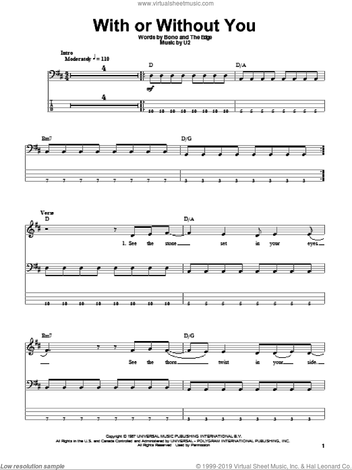 With Or Without You sheet music for bass (tablature) (bass guitar) by U2, Bono and The Edge, intermediate skill level