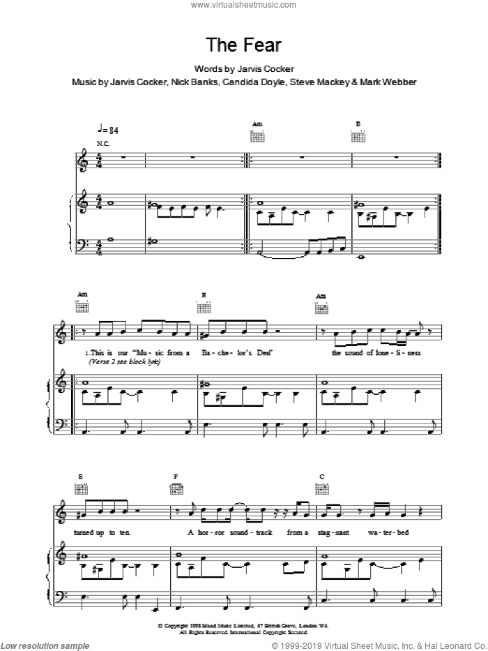 The Fear sheet music for voice, piano or guitar by Jarvis Cocker
