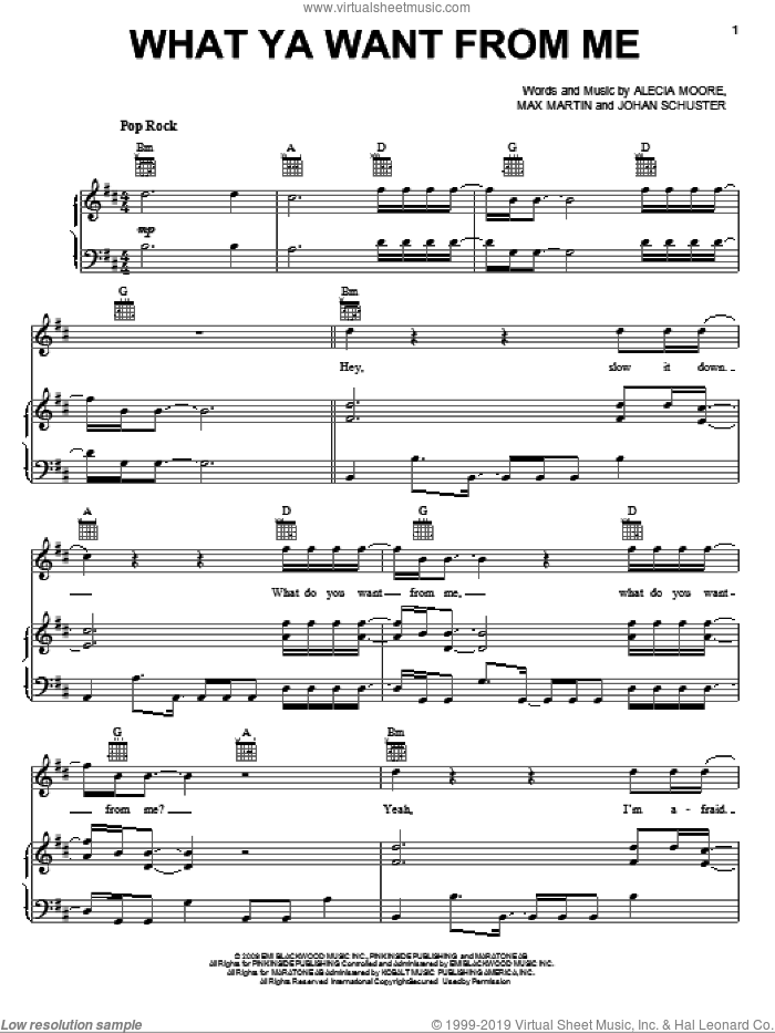 What Ya Want From Me sheet music for voice, piano or guitar by Adam Lambert, Alecia Moore, Johan Schuster and Max Martin, intermediate skill level