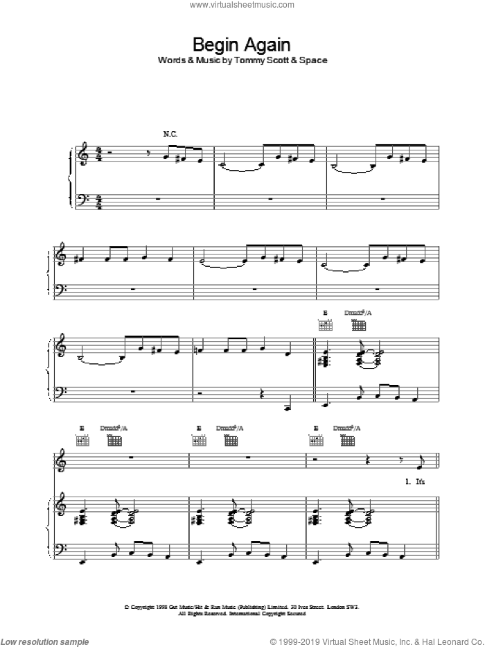 Begin Again sheet music for voice, piano or guitar by Tommy Scott