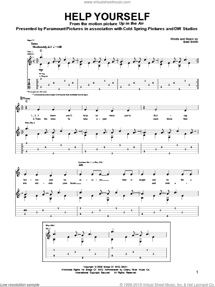 Help Yourself sheet music for guitar solo (tablature) by Brad Smith