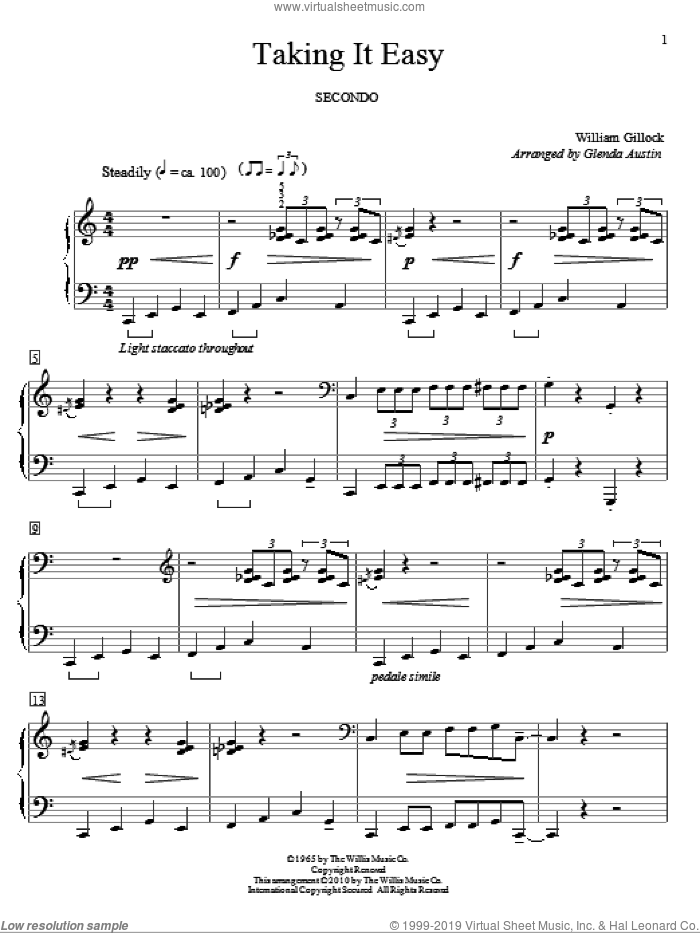 Taking It Easy sheet music for piano four hands (duets) by William Gillock