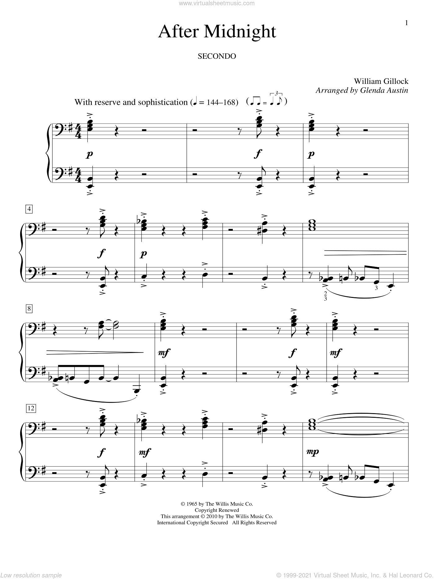 After Midnight sheet music for piano four hands by William Gillock and Glenda Austin, intermediate skill level