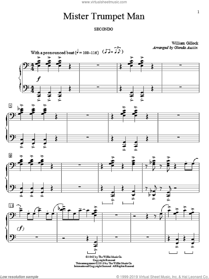 Mister Trumpet Man sheet music for piano four hands by William Gillock and Glenda Austin, intermediate. Score Image Preview.