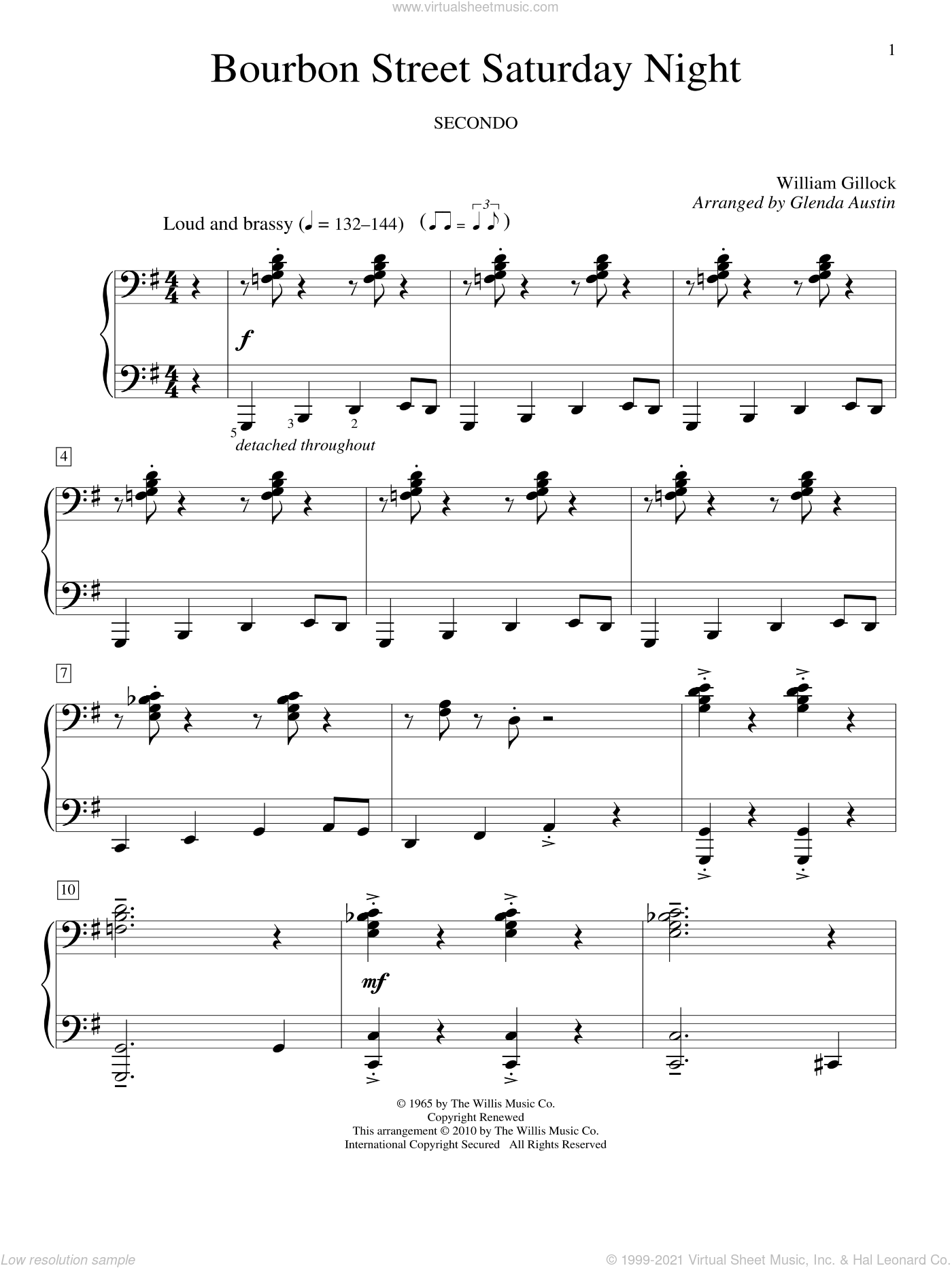 Bourbon Street Saturday Night sheet music for piano four hands (duets) by William Gillock