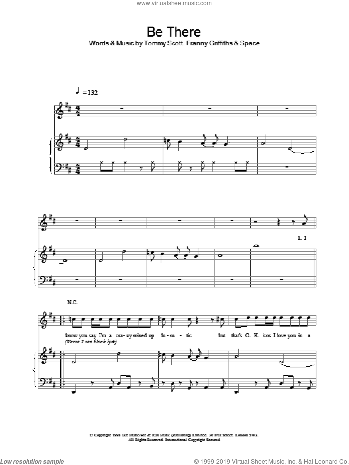 Be There sheet music for voice, piano or guitar by Tommy Scott