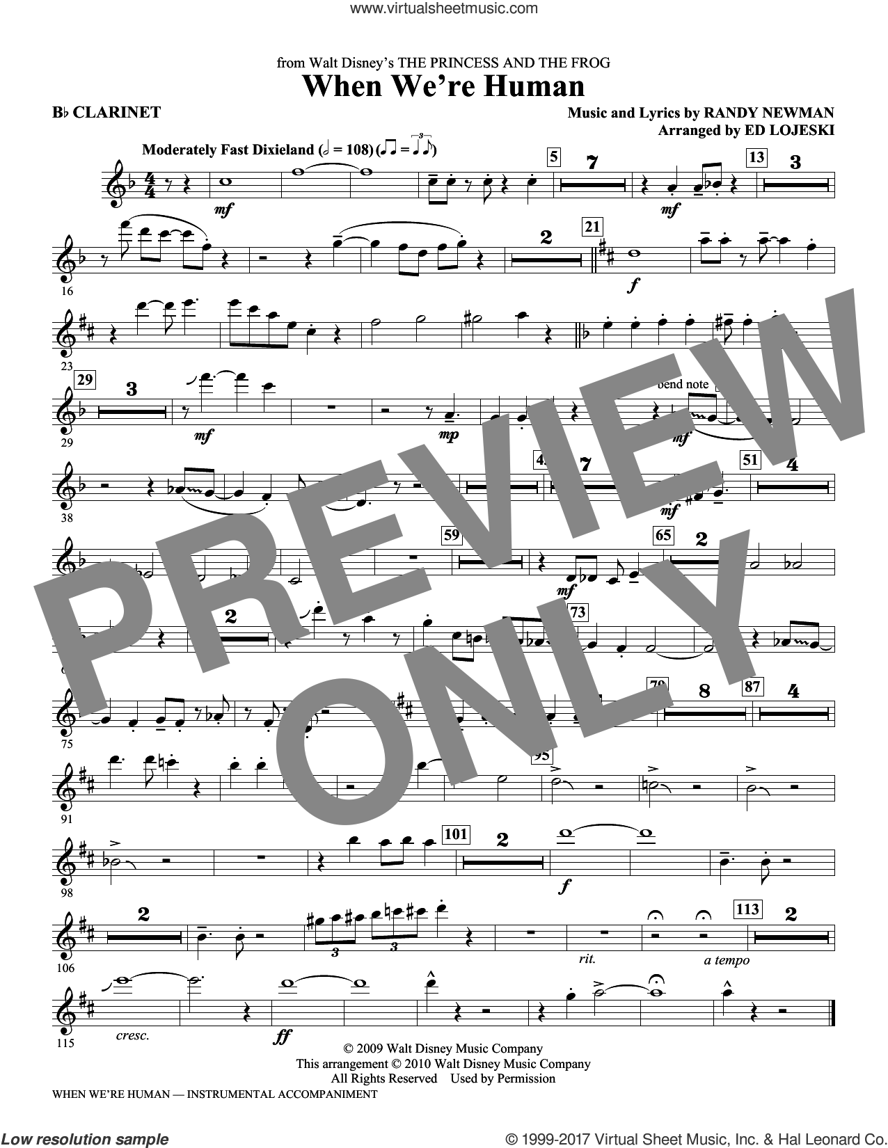 When We're Human (from The Princess And The Frog) (complete set of parts) sheet music for orchestra/band by Randy Newman and Ed Lojeski, intermediate