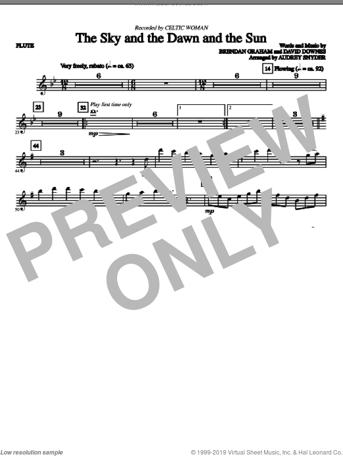 The Sky And The Dawn And The Sun (complete set of parts) sheet music for orchestra/band (Strings) by Brendan Graham, David Downes, Audrey Snyder and Celtic Woman, intermediate. Score Image Preview.