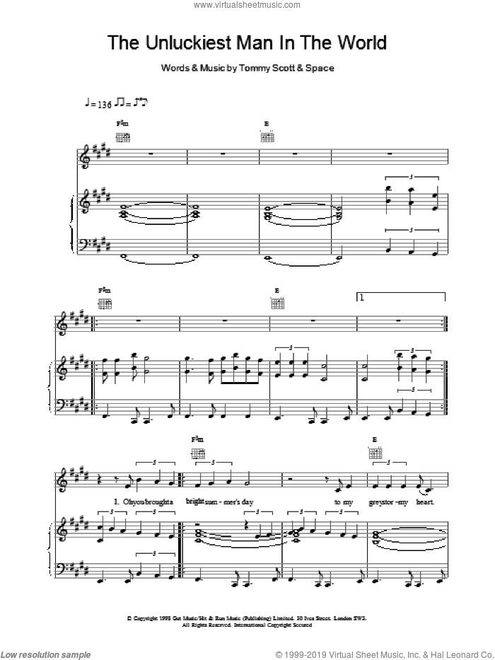 The Unluckiest Man In The World sheet music for voice, piano or guitar by Tommy Scott and Miscellaneous. Score Image Preview.