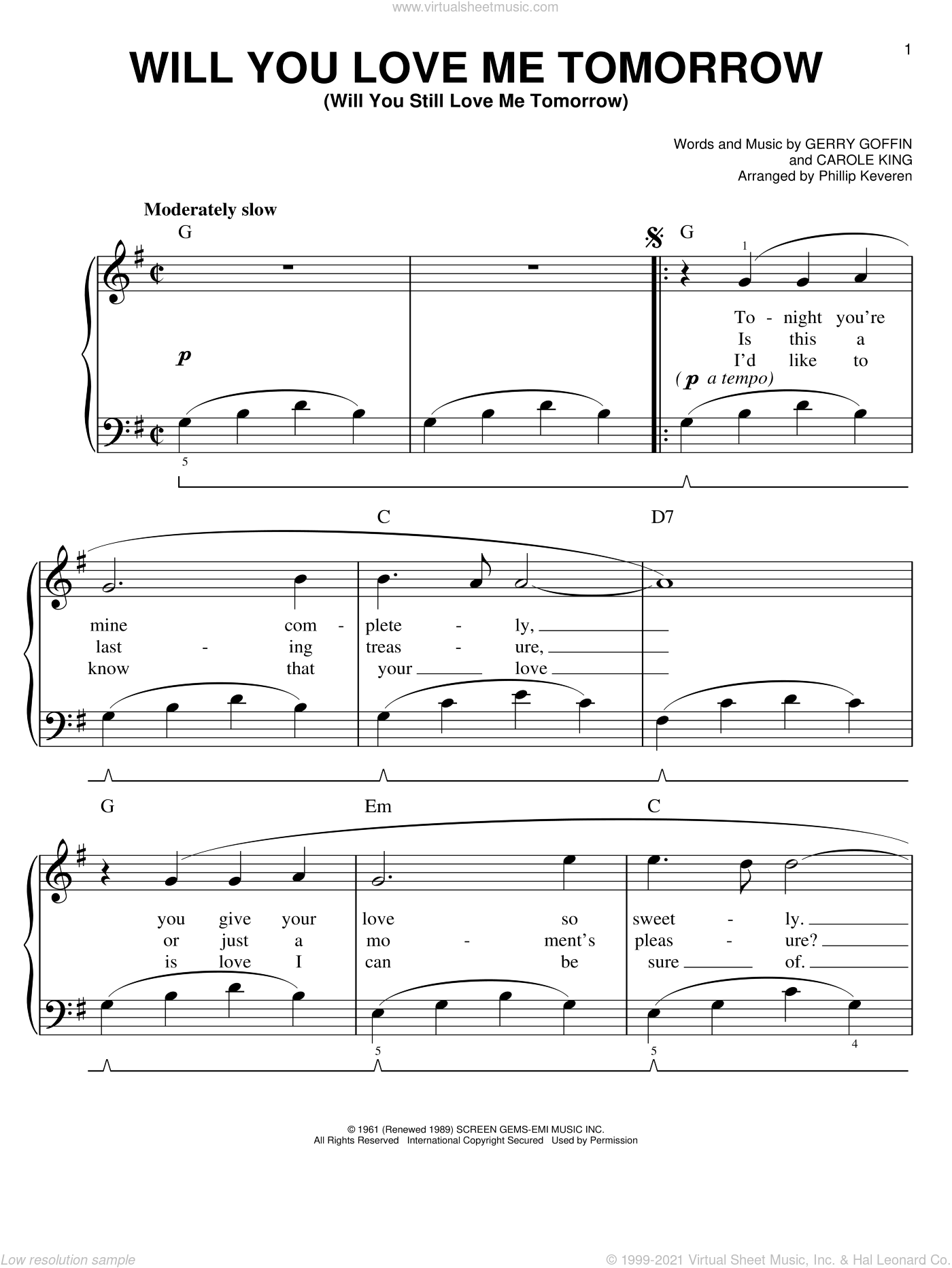 Will You Love Me Tomorrow (Will You Still Love Me Tomorrow) sheet music for piano solo by The Shirelles, Phillip Keveren, Carole King and Gerry Goffin, easy. Score Image Preview.