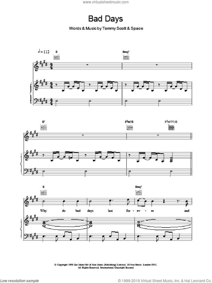 Bad Days sheet music for voice, piano or guitar by Tommy Scott and Miscellaneous. Score Image Preview.