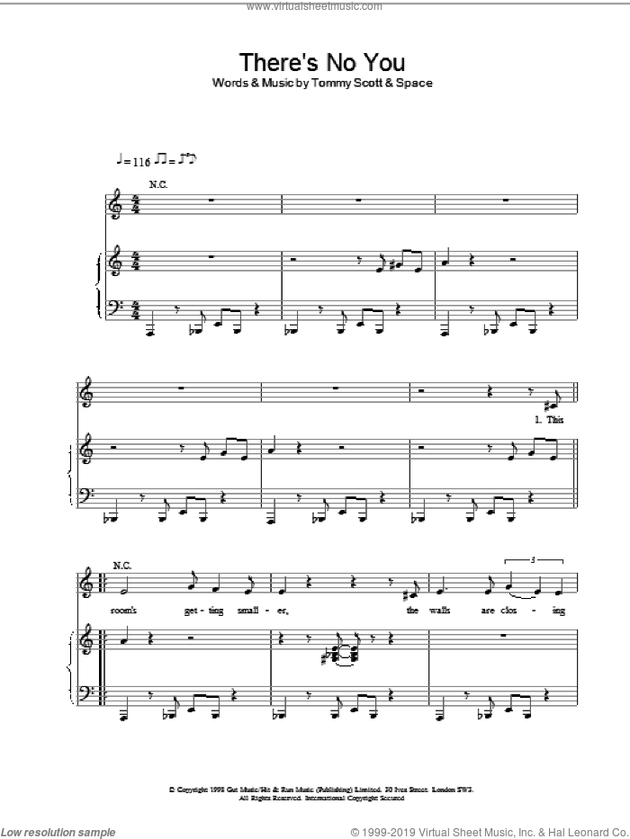 There's No You sheet music for voice, piano or guitar by Tommy Scott