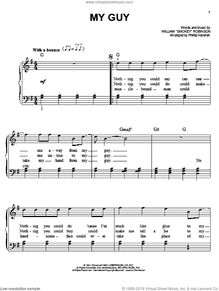 My Guy sheet music for piano solo by Mary Wells and Phillip Keveren, easy. Score Image Preview.