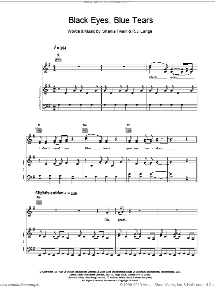 Black Eyes, Blue Tears sheet music for voice, piano or guitar by Robert John Lange and Shania Twain. Score Image Preview.