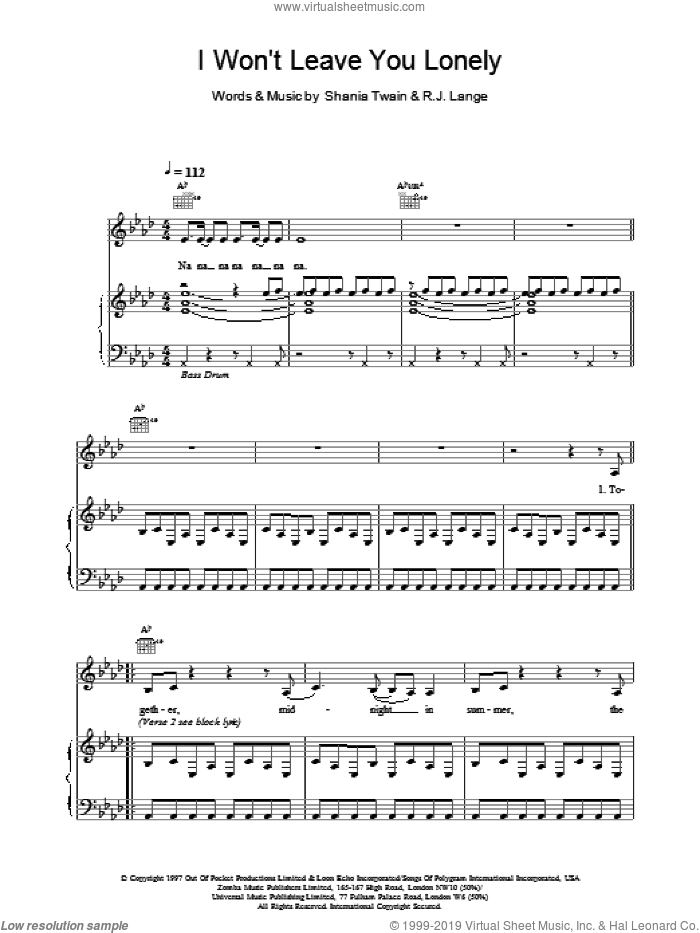 I Won't Leave You Lonely sheet music for voice, piano or guitar by Robert John Lange and Shania Twain. Score Image Preview.