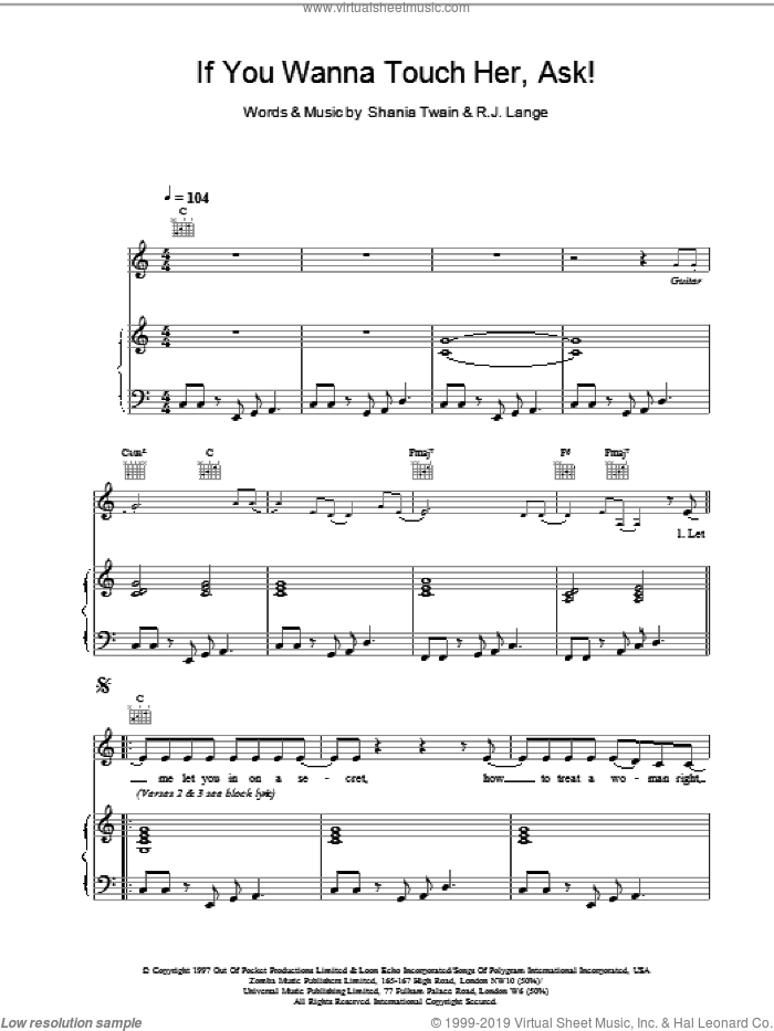 If You Wanna Touch Her, Ask! sheet music for voice, piano or guitar by Shania Twain and Robert John Lange, intermediate voice, piano or guitar. Score Image Preview.