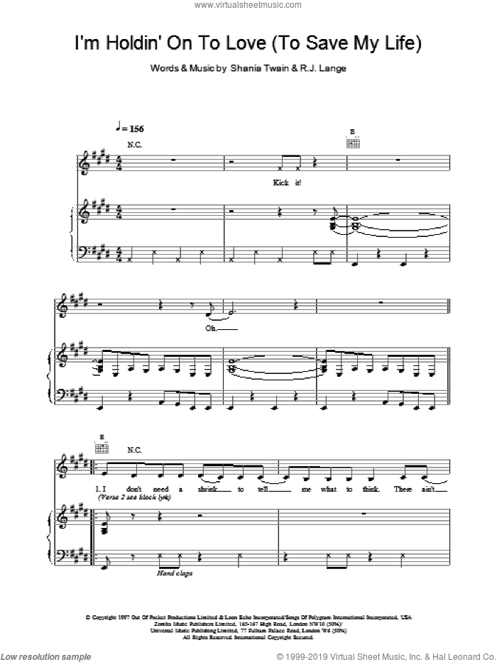 I'm Holdin' On To Love (To Save My Life) sheet music for voice, piano or guitar by Robert John Lange and Shania Twain. Score Image Preview.