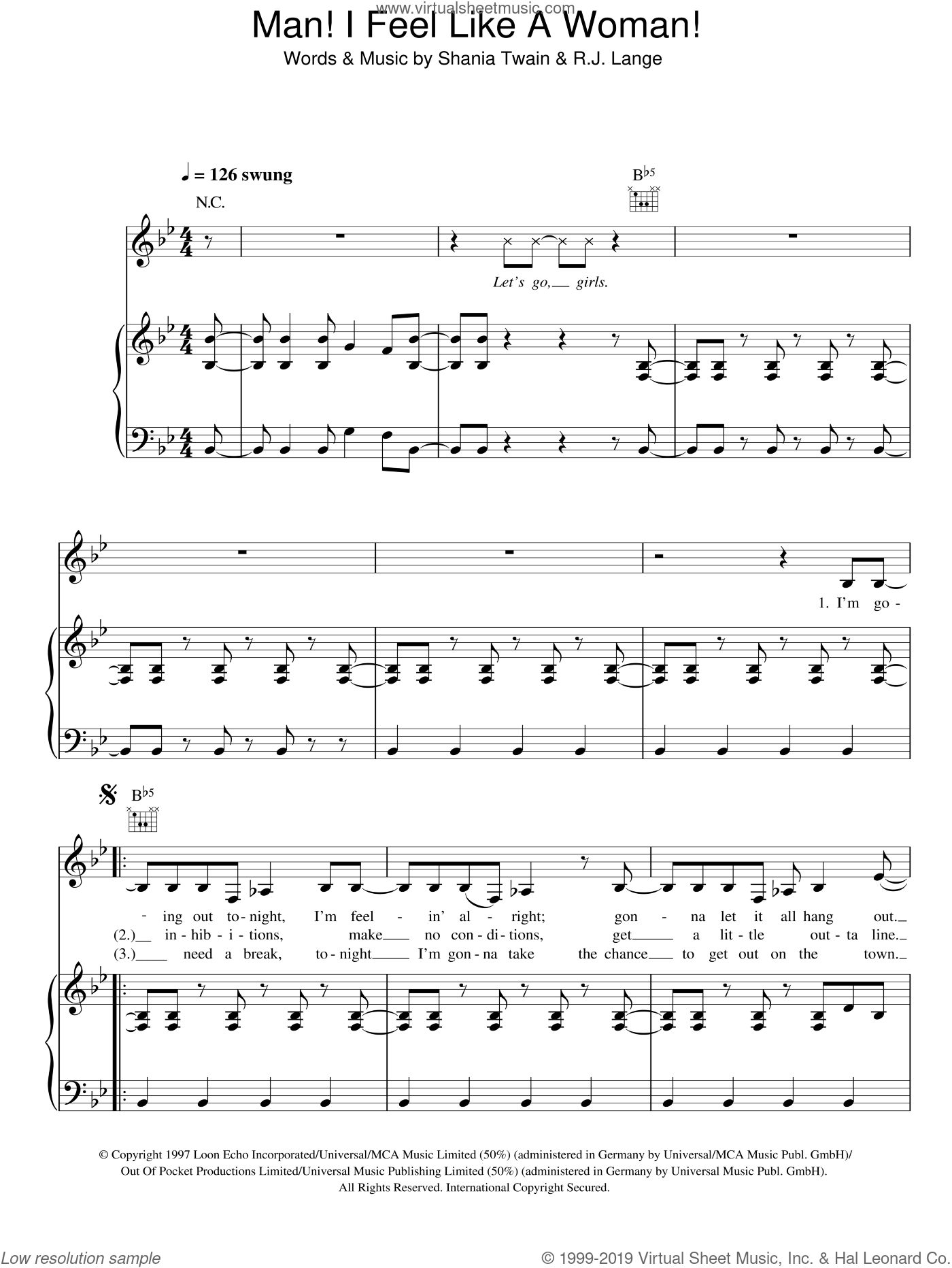 Man! I Feel Like A Woman! sheet music for voice, piano or guitar by Shania Twain and Robert John Lange, intermediate skill level